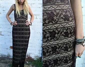 SALE Lace Overlay 90s Grunge Maxi Dress! Boho Bohemian Long Mesh Sheer Brown Rust Festival Body Con Slip Dress