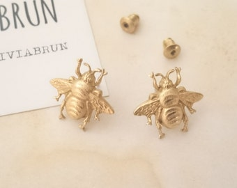 Bee Stud Earrings Gold Bee Stud Earrings Brass Bee Earrings Bumble Bee Earrings Bee Jewelry