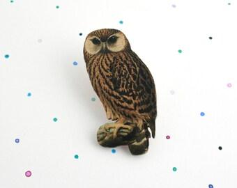 Owl Brooch - laser cut wooden owl pin / badge. Vintage nature illustration
