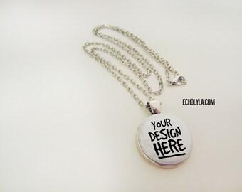 "Antique Silver Pendant 23mm - 24"" rolo antique silver chain necklace - Custom design"