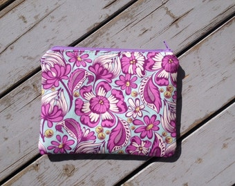 Modern Zipper Pouch/ Tula Pink Chipper Print Zipper Pouch/ Floral Print Bag/ Purple and White Accessory Bag