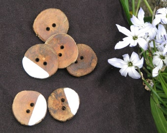 Wooden Boho Buttons with a dash of silver paint! Hand Made from Locally Grown Cherry Plum Tree (pack of 6)