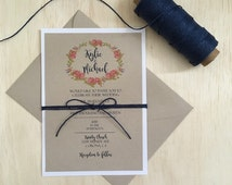 Rustic wedding invitation, navy blue invitation, rustic navy blue invitation, simple rustic invitation, rustic wreath invitation
