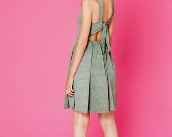 Designer dress, Feyge Fashion, grey green dress, open back mini dress, back tie dress, xs mini dress, short summer dress, sleeveless dress