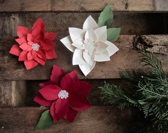 Seed Paper Flowers, Paper Flowers, Paper Christmas Flowers, Paper Poinsettias, Winter Wedding Favors, Seed Paper Christmas Gift