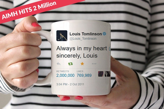 Coffee Mug Always In My Heart Tweet 2 Million Retweets Edition - Louis Tomlinson & Harry Styles