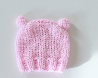 Newborn Hat Knit Baby Beanie Photo Prop Hat for Newborn Baby Girl Pink