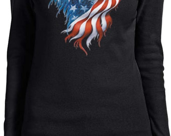 USA Eagle Flag Ladies Long Sleeve Tee T-Shirt WS-12260-5001