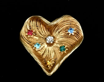 Large Gold Wire and Rhinestone Brooch            VG2048