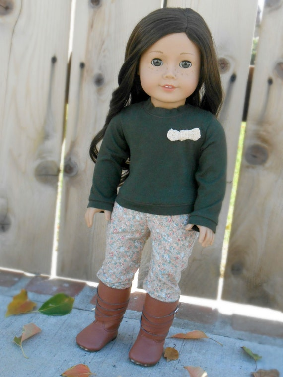 Dark Green Sweater With Tiny Lace Bow For American Girl Dolls