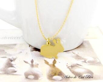 Bunny Necklace, Rabbit Necklace, Matt Gold Bunny Necklace, Matt Gold Rabbit Necklace, Bunny Jewelry, Rabbit Jewelry, Bunny / Rabbit Charm