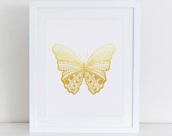 Butterfly Art Print, Butterfly Printable, Instant Download, Printable Home Decor, Digital Art Print, Butterfly Gold Foil, Butterflies Print