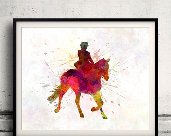 Horse Show 03 in watercolor - poster watercolor wall art splatter sport illustration print Glicée artistic - SKU 2027