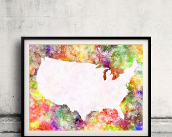 United States map in watercolor painting abstract splatters - Fine Art Print Glicee Poster Gift Illustration Colorful USA - SKU 0718