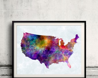 United States map in watercolor painting abstract splatters - Fine Art Print Glicee Poster Gift Illustration Colorful USA - SKU 0721