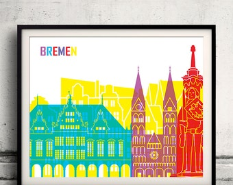 Bremen pop art skyline 8x10 in. to 12x16 in. Fine Art Print Glicee Poster Gift Illustration Pop Art Colorful Landmarks - SKU 0632