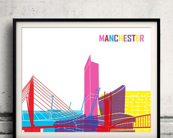 Manchester pop art skyline 8x10 in. to 12x16 in. Fine Art Print Glicee Poster Gift Illustration Pop Art Colorful Landmarks - SKU 1031