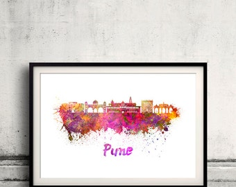 Pune skyline in watercolor over white background with name of city 8x10 in. to 12x16 in. Poster art Illustration Print  - SKU 1125