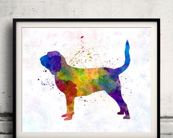 Bloodhound in watercolor 8x10 in. to 12x16 in. Fine Art Print Glicee Poster Decor Home Watercolor Illustration - SKU 1220