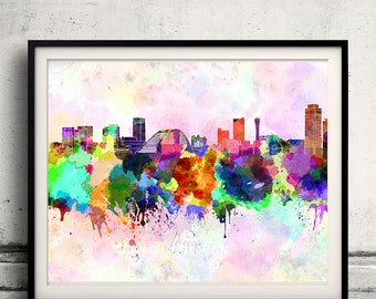 Kobe skyline in watercolor background - Poster Digital Wall art Illustration Print Art Decorative - SKU 1326