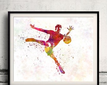 Man soccer football player 08 - poster watercolor wall art gift splatter sport soccer illustration print artistic - SKU 1452