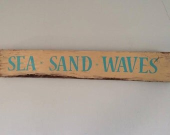 Sea Sand Waves wooden sign