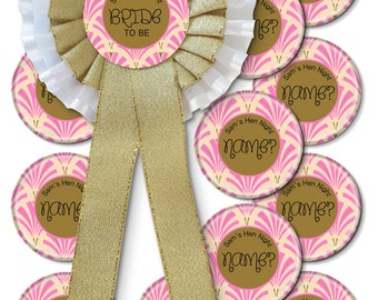 Set of 11+ Art Deco Personalised Hen Party Rosette & Badges