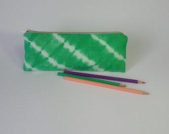 Green Linen Pencil Case, Hand Dyed Zipper Pouch, Tie Dye, School supplies, Shibori, Vegan
