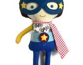RAG DOLL superhero boy doll toy with cape toddler gift action figure for super hero birthday, marvel inspired for children