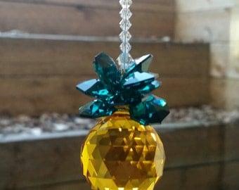 Realtor gift, crystal pineapple,  housewarming gift, Hawaiian gift, ohana gift, pineapple suncatcher,  crystal suncatcher, hanging crystal