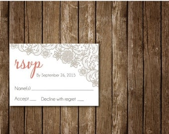 Lace Vintage Wedding RSVP, Rustic Wedding Invitation RSVP