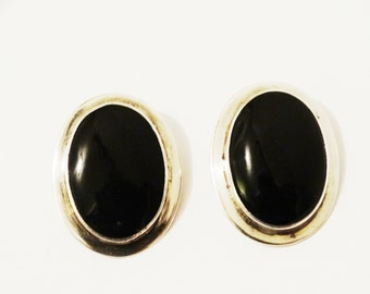 Free Shipping Sterling Onyx Large Oblong Earrings.