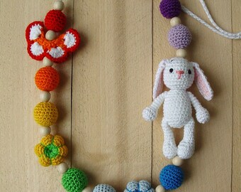 Wooden Teething nursing necklace Crochet Babywearing necklace for mom Breastfeeding Ring sling Rainbow waldorf baby toy Kids toddler gift