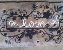 "Hand Painted "" Love "" Sign.  Barn Slate Shingles"