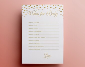 Gold wishes for the baby card printable baby shower game instant download cute wishes for baby game gold baby shower party printable decor