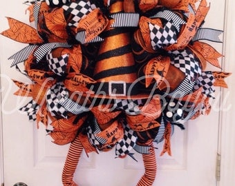 Halloween Wreath Witch Wreath with Legs Deco Mesh Wreath Halloween Deco Mesh **MADE TO ORDER**