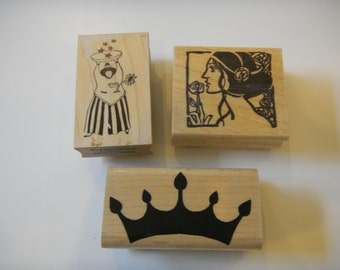 Woman Rubber Stamp - gently used, unique rubber stamp, woman with bowl rubber stamp, steampunk rubber stamp, scrapbooking, card, card making