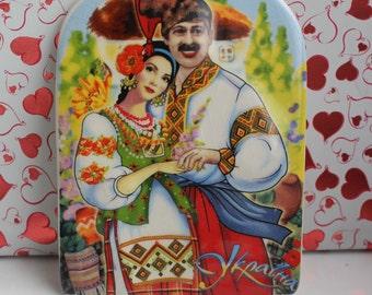 Ukraine Souvenir Gift Kitchen Fridge Magnet ceramic Ukrainian young couple