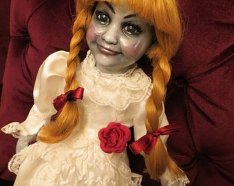 OOAK-Gothic-Zombie-Undead-Vampire-Creepy--Horror-Hand-Painted-Porcelain-Doll-Annabelle