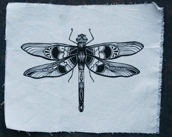 """Hand Printed Dragonfly Patch 10.5"""" x 4.5"""""""