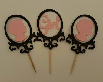 Vintage Theme Baby Shower Cupcake Toppers