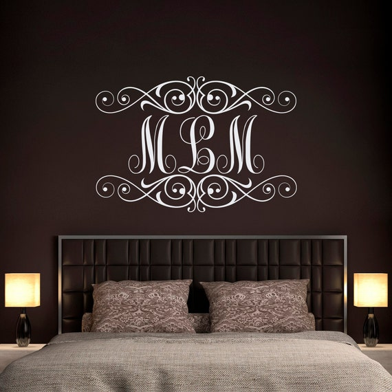 monogram wall decal personalized initials wall decals. Black Bedroom Furniture Sets. Home Design Ideas