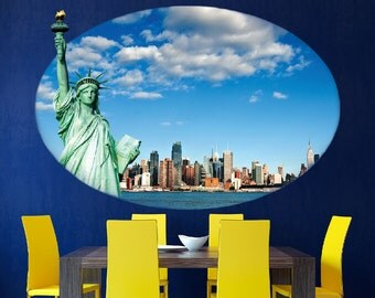 Statue of Liberty Decal, New York City Wall Mural, Statue of Liberty, Modern Wall Design, NYC Skyline Wall Decal, Newyork Decal Designs, a80