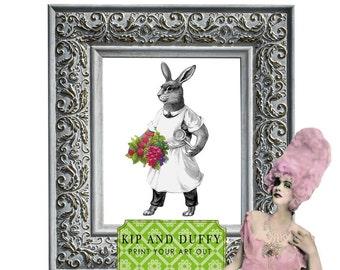 Printable Rabbit Art, Bunny Art, Kitchen Rabbit