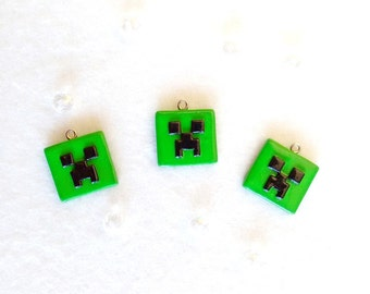 Faces of creeper Minecraft handmade polymer clay (unofficial)-inspired pendants