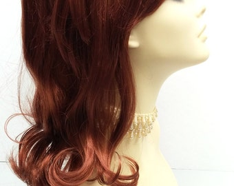 Long 17 inch Red Beehive Costume Wig. Peg Bundy Style Wig