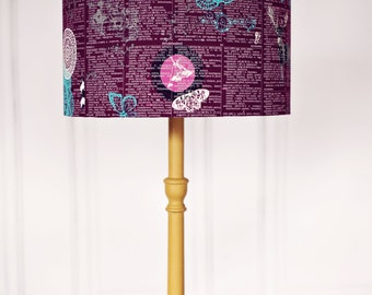 Purple lamp shade, woodland lamp shade, countryside lampshade, wildlife, woodland animals, table lamp, lighting, home decor, purple decor