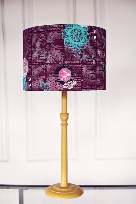 Purple lamp shade woodland lamp shade purple home decor Home decorators lamp shades