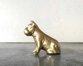 Vintage Brass Dog / Brass Animal Figurine /  Small Brass Paperweight / Animal Paperweight / Brass Decor / Terrier