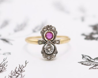 FALL SALE Antique Edwardian 18k Gold Diamond and Ruby Ring Anniversary